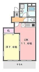 アスピリアベルフルール[1階]の間取り