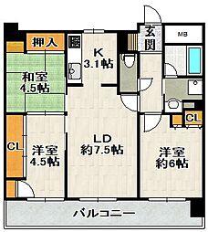 コスモ宝塚[6F号室]の間取り