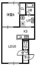 RTK 1階1LDKの間取り