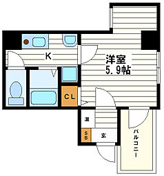 大阪府大阪市中央区神崎町の賃貸マンションの間取り