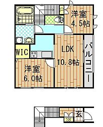 ADEKA-TII(アデカ-ティ ツー)[201号室]の間取り