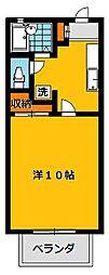 コーポ鶴田(1K)[1階]の間取り