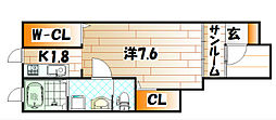 福岡県北九州市八幡東区尾倉2丁目の賃貸アパートの間取り