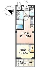 仮)名子3丁目新築アパート 2階1LDKの間取り
