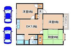兵庫県三木市加佐の賃貸アパートの間取り