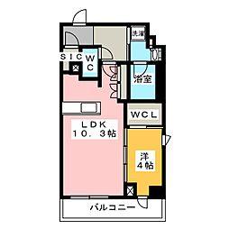 プラウドフラット菊川 4階1LDKの間取り
