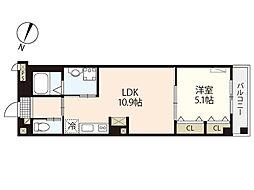 JR山陽本線 横川駅 徒歩10分の賃貸マンション 3階1LDKの間取り
