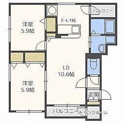 北海道札幌市中央区南八条西18丁目の賃貸マンションの間取り