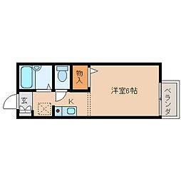 奈良県奈良市大宮町1丁目の賃貸アパートの間取り