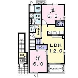 静岡県浜松市北区都田町の賃貸アパートの間取り