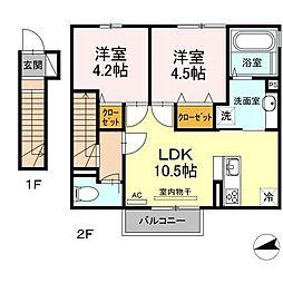 Grand Soleil(グランドソレーユ)A棟 2階2LDKの間取り