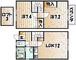 福岡県北九州市若松区高須南1丁目の賃貸アパートの間取り