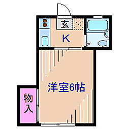 神奈川県横浜市港北区菊名4丁目の賃貸アパートの間取り