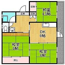 大阪府枚方市田口山1丁目の賃貸マンションの間取り