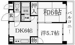 兵庫県西宮市弓場町の賃貸マンションの間取り