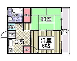 オレンジコーポ1号館[305号室]の間取り