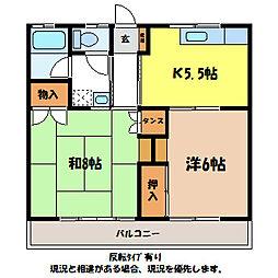 長野県伊那市狐島の賃貸アパートの間取り