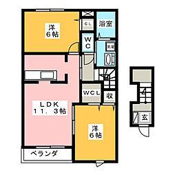 ボンヌシャンス7 II[2階]の間取り
