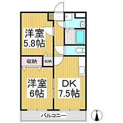 VIPマンション 1階2DKの間取り