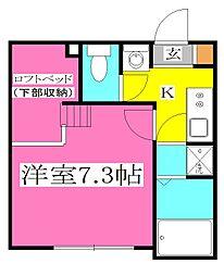 JR武蔵野線 東所沢駅 徒歩9分の賃貸アパート 3階1Kの間取り
