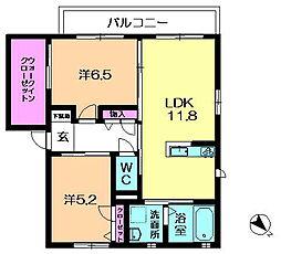 奈良県奈良市中山町西2丁目の賃貸アパートの間取り