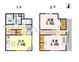 西武池袋線 石神井公園駅 徒歩12分の賃貸一戸建て 2DKの間取り
