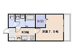 I Jigozen 2階1Kの間取り