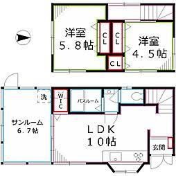 [一戸建] 東京都国分寺市新町1丁目 の賃貸【/】の間取り