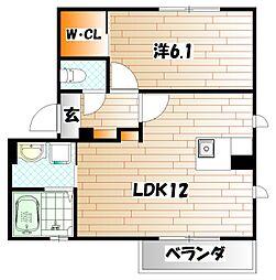 シャーメゾン津田 B棟[2階]の間取り