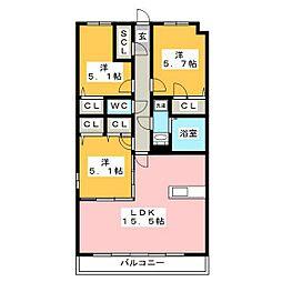 グランドラインII 2階3LDKの間取り
