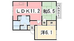 フレグランス別所 A棟[203号室]の間取り