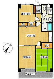 学園サンパール[3階]の間取り