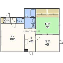 北海道札幌市北区新川二条9丁目の賃貸アパートの間取り