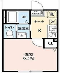 千葉県八千代市勝田台北3丁目の賃貸アパートの間取り