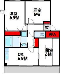 福岡県遠賀郡岡垣町中央台5丁目の賃貸アパートの間取り