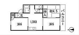 福岡県北九州市若松区畠田2丁目の賃貸アパートの間取り