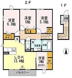 D-room寺塚 弐番館[202号室]の間取り