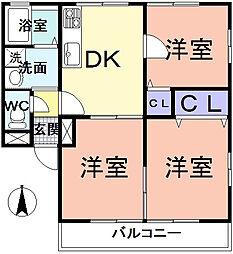 大阪府三島郡島本町若山台1丁目の賃貸アパートの間取り