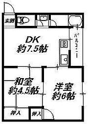 大阪府大阪市住吉区遠里小野1丁目の賃貸マンションの間取り