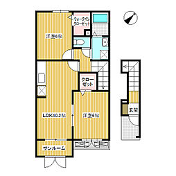 JR飯山線 飯山駅 徒歩29分の賃貸アパート 2階2LDKの間取り