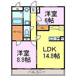 愛知県知多市岡田美里町の賃貸マンションの間取り