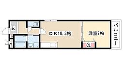 愛知県名古屋市天白区山根町の賃貸アパートの間取り