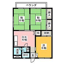 サワータウン花園[3階]の間取り