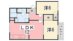 兵庫県姫路市白浜町宇佐崎北1丁目の賃貸アパートの間取り