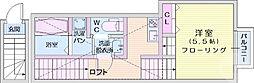 ザ・ソレイユ八木山2 2階1Kの間取り