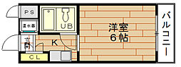 ビバリーヒルズ本田西[3階]の間取り