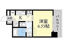 リンクハウス大阪城 3階1Kの間取り