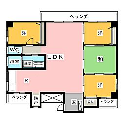 味仙第3マンション[8階]の間取り