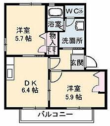 シャーメゾンKura B棟[B201号室]の間取り