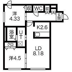 北海道札幌市北区北四十条西6丁目の賃貸マンションの間取り
